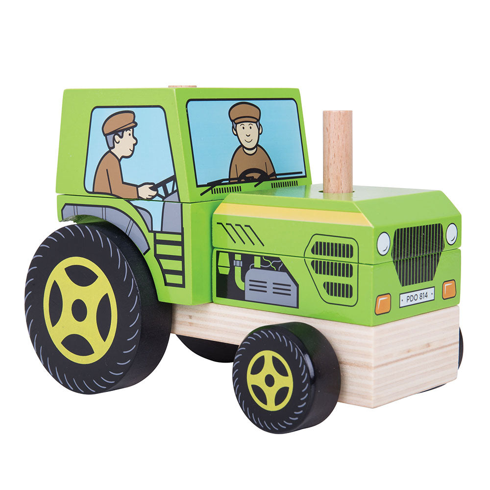 Two toys in one! Develop problem solving skills with this stacking and push along wooden toy from Bigjigs. Stack all of the pieces up in the correct order to move the vehicle and begin the fun! Made from high quality, responsibly sourced materials.
