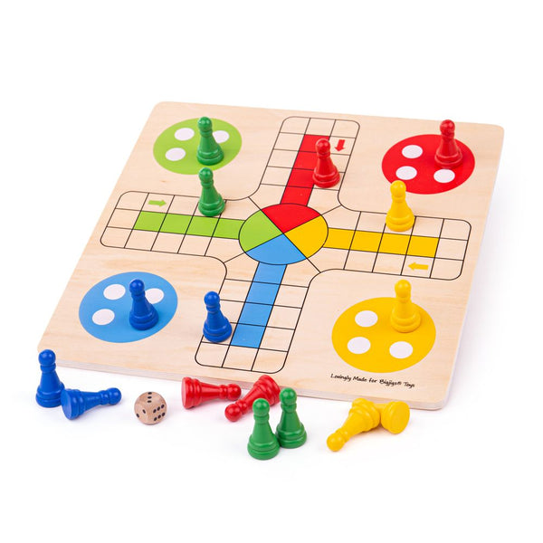 Traditional Ludo play set! Features a colourful game board, 4 green counters, 4 red counters, 4 blue counters, 4 yellow counters and a dice. Includes chunky wooden pieces that are perfectly sized for little hands to lift, grasp and place.