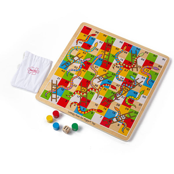 Our wooden traditional snakes and ladders board game includes everything you need for hours of competitive fun, including dice and 4 colourful counters (red, yellow, green and blue) and a small bag to keep the smaller pieces together. This colourful wooden Snakes and Ladders board game is a great way to develop basic math skills such as counting, addition and subtraction.