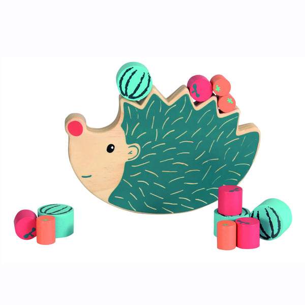 This balancing game includes a wooden hedgehog and small wooden cylinders painted to look like fruit. To play the game, you must balance the fruit on the hedgehog's back without letting them fall.  Includes 13 brightly coloured pieces .