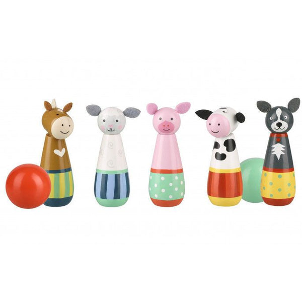 These cute and colourful wooden toy skittles from Orange Tree Toys are the perfect size for indoor play. They contain 5 cute and colourful favourite farm animals; a pony, a sheep, a pig, cow and sheep-dog! The set also contains two balls.
