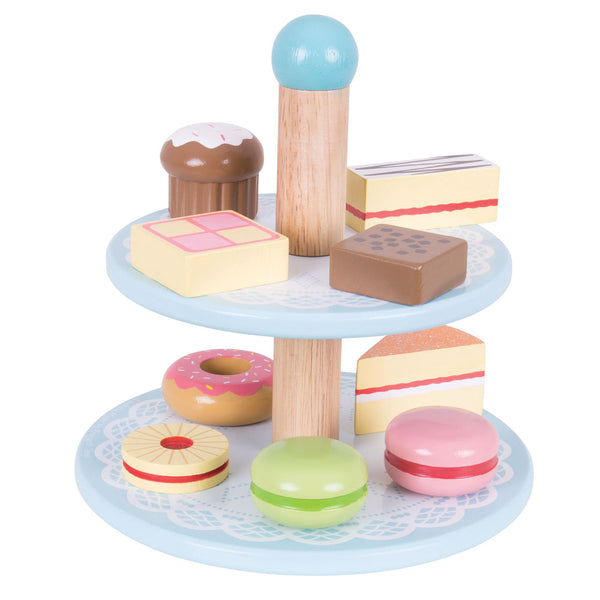 Little ones can host the perfect afternoon tea with the Bigjigs Toys wooden Cake Stand with 9 wooden cakes. The decorative cake stand comprises two tiers, each crammed with delicious treats!
