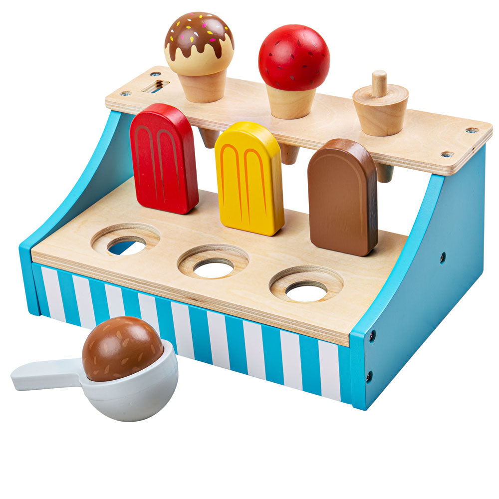 Get Creative with these delicious ice creams from Bigjigs Toys. Spark hours of imaginative and educational pretend play with these wooden sweet treats. Includes 6 different types of ice creams in a wooden stand perfect for storing in your pretend freezer or selling in your shop.