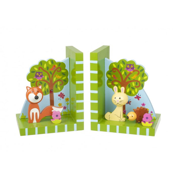 Woodland Friends Bookends - These brightly coloured children's wooden bookends from Orange Tree Toys are the perfect addition to any child's room and will keep their favourite books in place.