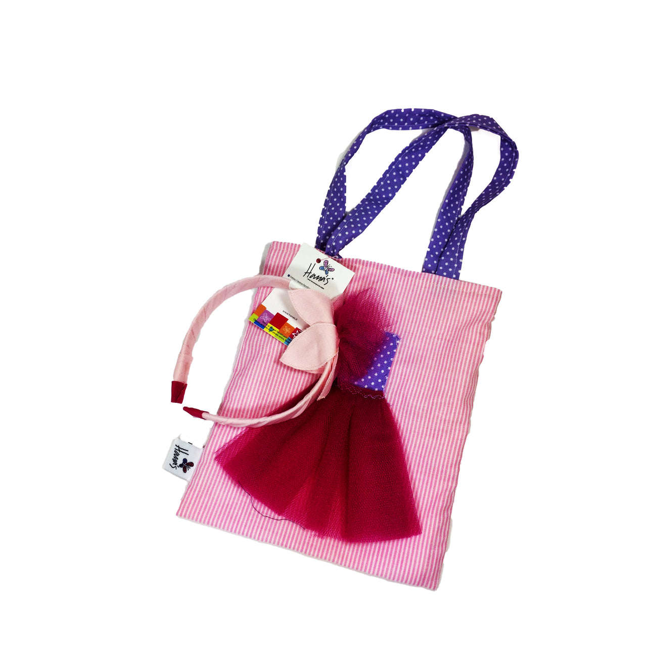 The pink ballerina bag and headband is one of our best seller gifts for girls! Hand sewn of 100% cotton fabric and layered with colourful pieces of fabric, the bag is reve