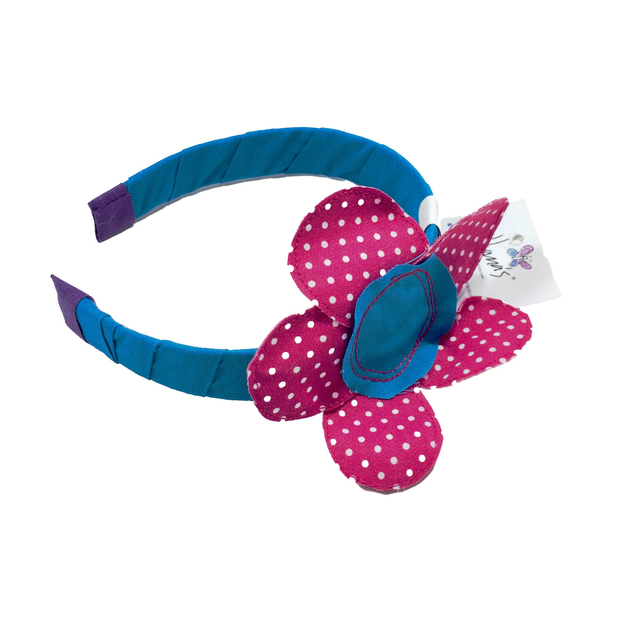 This Turquoise/Fuchsia Flower Headband is finished with 100% cotton fabric, decorated with a hand sewed little flower. This headband is perfect for girls of all ages and it is a lovely piece to have!