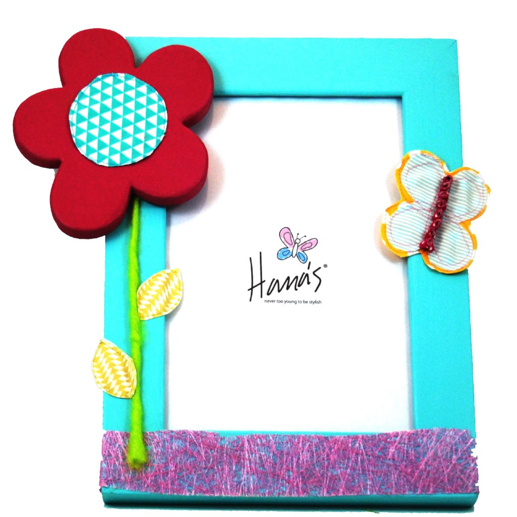 Turquoise photo frame with a vibrant flower and butterfly detail.  The wooden frame is hand-painted and the amazing flower and butterfly detail is attained through an array of layered fabrics and painted wood giving a three-dimensional effect.