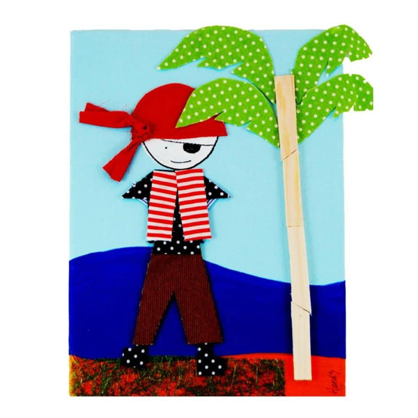 Picture of a pirate on a painted canvas with layered fabrics to provide a three-dimensional effect.
