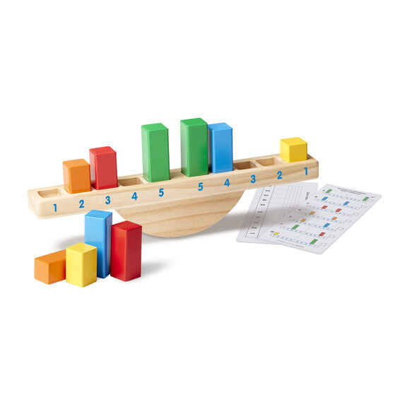 Discover the basics of balance with this colourful classic rocking toy! Mix and match the 10 brightly coloured rectangular blocks in the numbered slots on the solid wood base to see if it balances.
