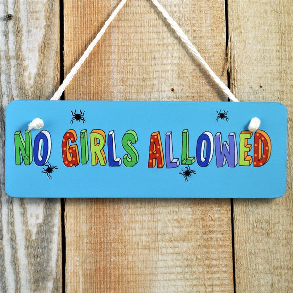 "Blue painted wooden board with motif ""No girls allowed"" with a string for hanging from the door."
