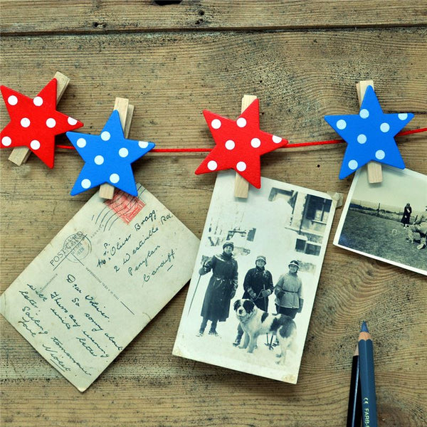 String of Pegs Red and Blue Stars - Rooms for Rascals