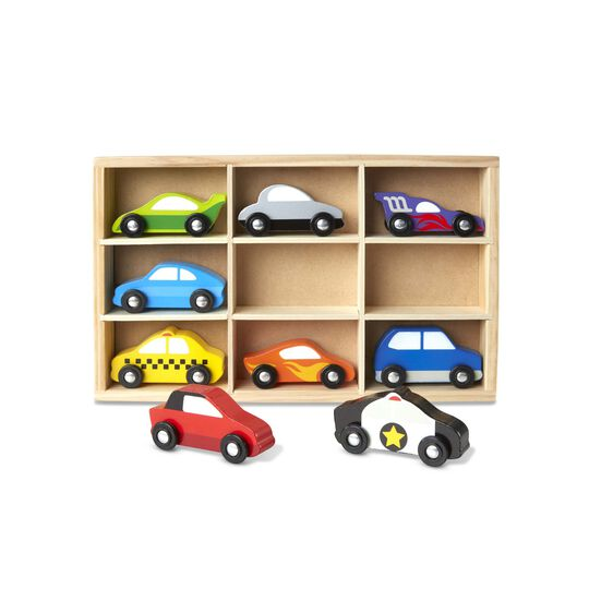 Race to the rescue, around the track, or all over town with these sturdy wooden cars! The nine-piece set includes cars, racecars, mini-van, police car, and taxi, each approximately four inches long.