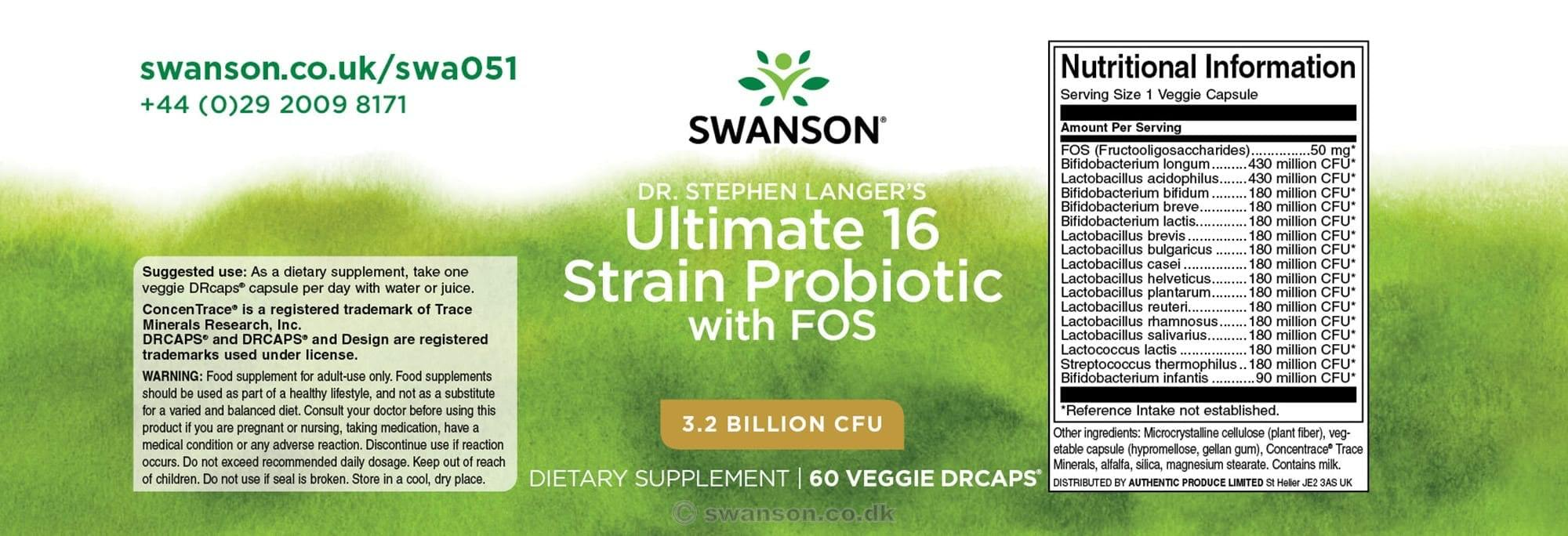 Probiotics Swanson - 16 strains - 3.2 billions of CFU - 60 capsules
