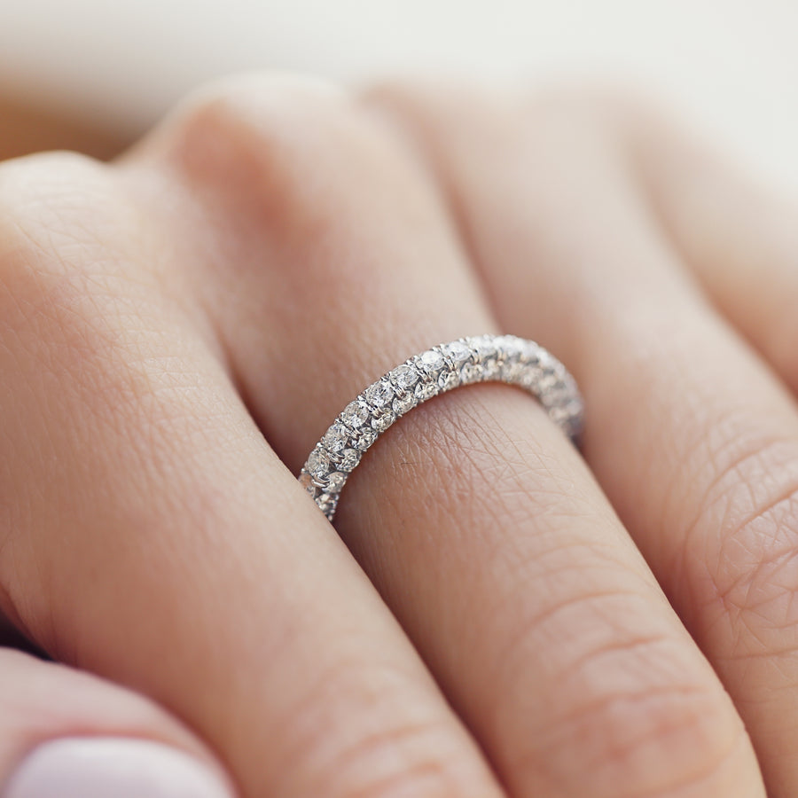 Eternity Ring with diamonds on all three sides