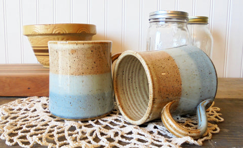 B Robertson Pottery - Cozy Color Blend Mugs - Caramel & Blue