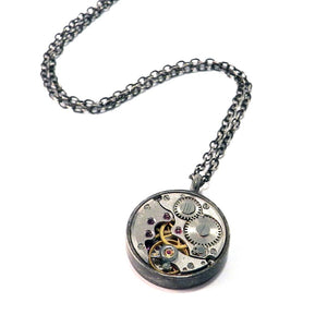 Compass Rose Design - CLOCKWORK Classic Necklace - SILVER