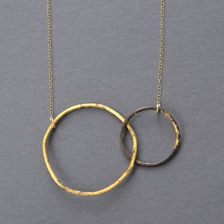 interlocking circles necklace, steel and gold