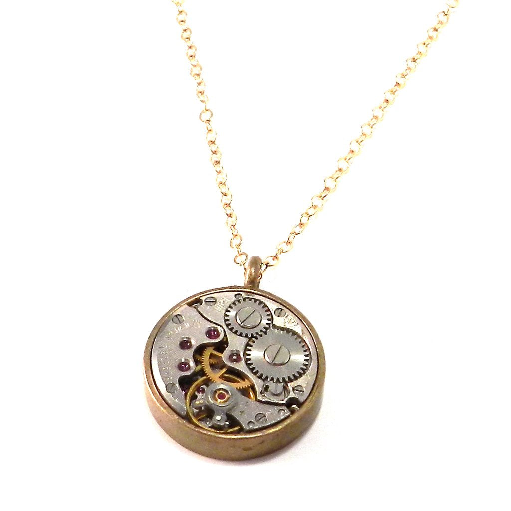 Compass Rose Design - CLOCKWORK Classic Necklace - BRONZE