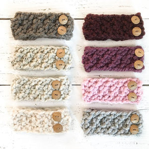 JackiBean - Kids Hand Knit Button BandHeadband