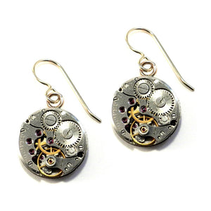 Compass Rose Design - CLOCKWORK Earrings Round