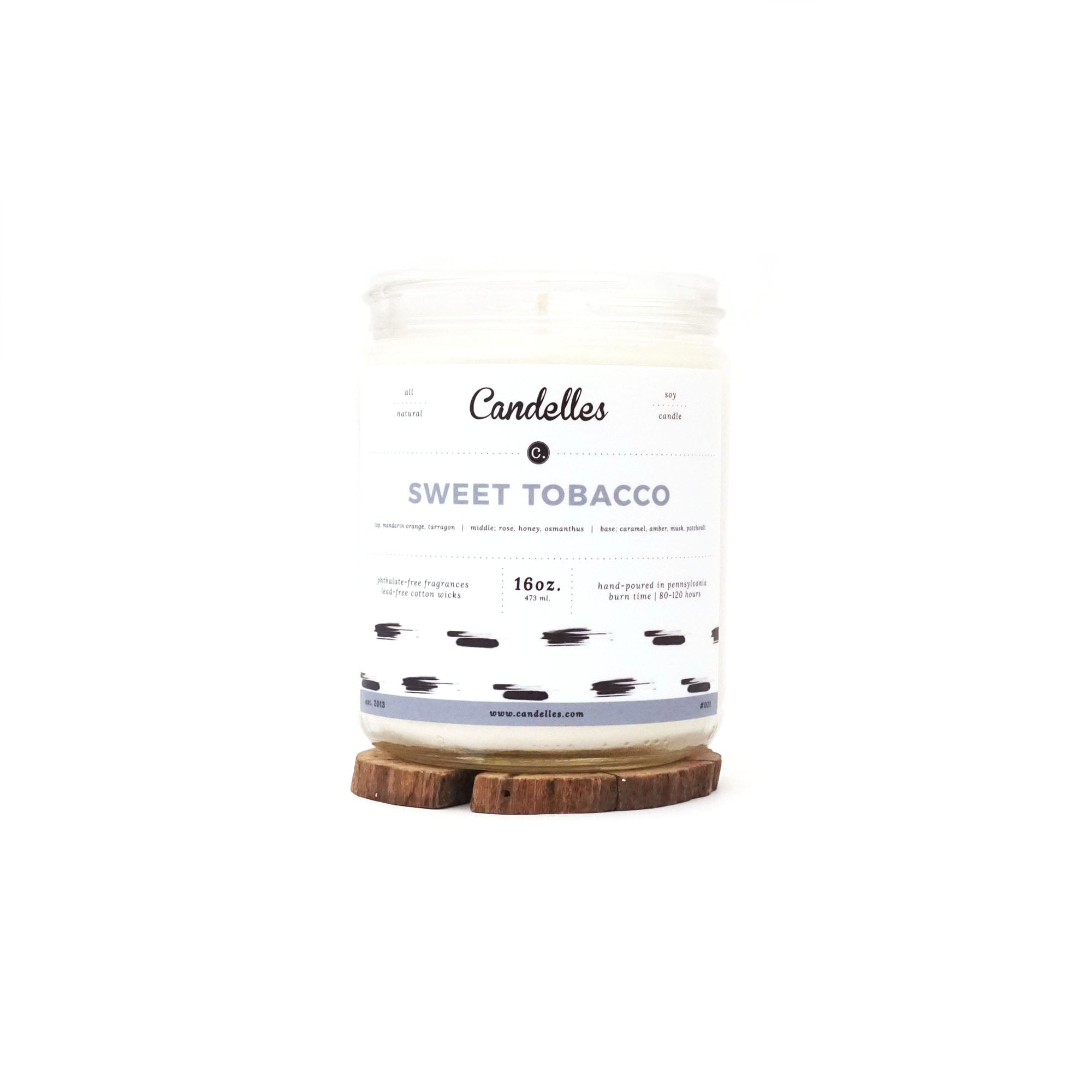 Candelles Candles - Sweet Tobacco Scented Soy Candle - 16oz.