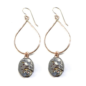 Compass Rose Design - CLOCKWORK Teardrop Earrings - BRONZE