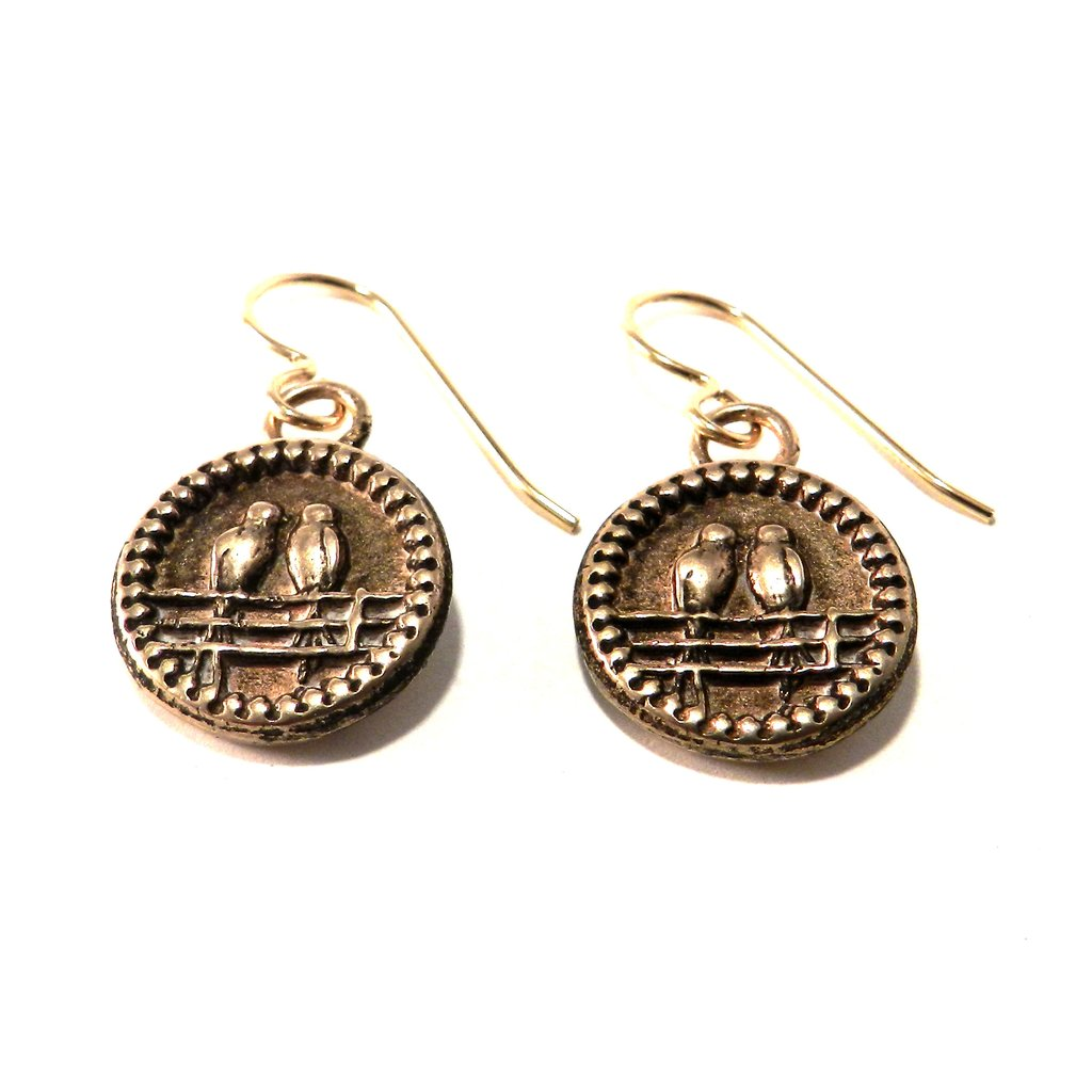 Compass Rose Design - LOVEBIRDS Antique Button Classic Earrings - BRONZE