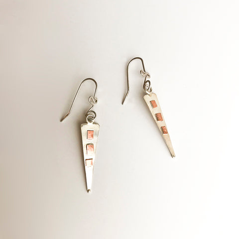 Leigh Lynn earrings - sterling + copper triangles