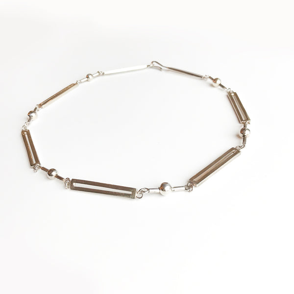 Leigh Lynn necklace - sterling bars and beads