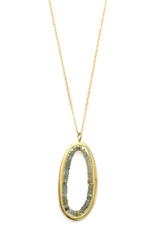 Philippa Roberts large oval pendant necklace with moss aquamarine in vermeil