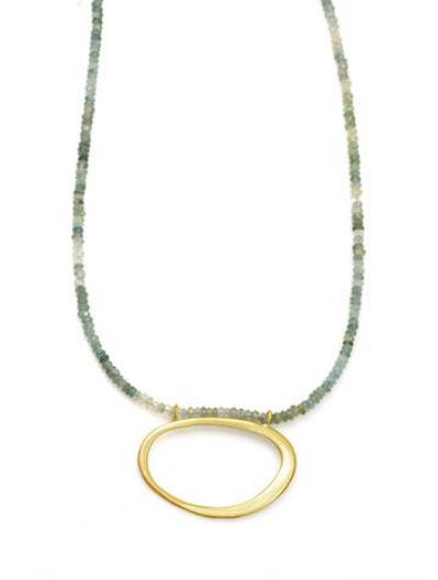 Philippa Roberts oval necklace on moss aquamarine beads in vermeil
