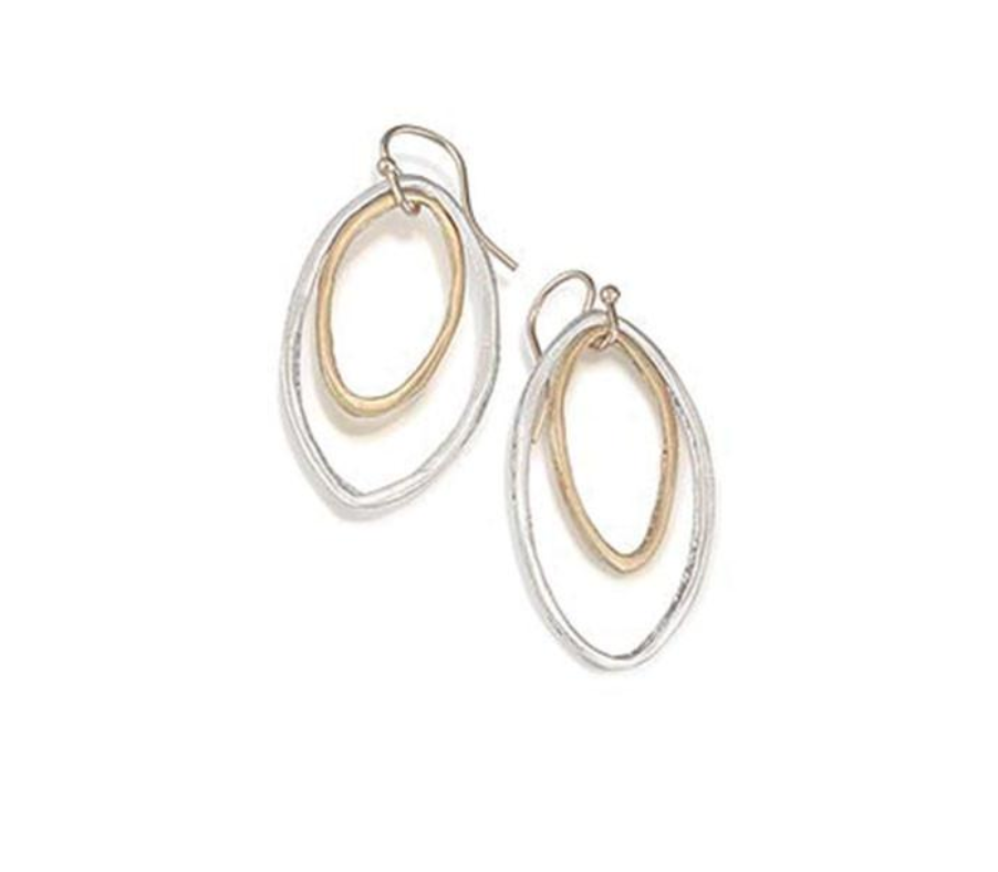 Philippa Roberts pointed oval earrings in silver and vermeil