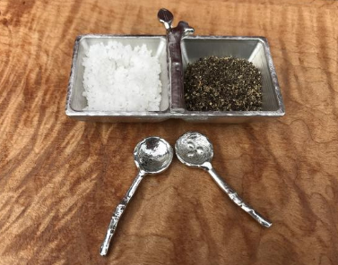 Salt & Pepper Tray with Twig Spoons