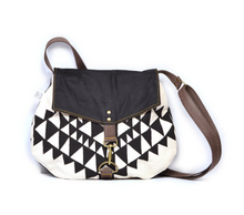 Load image into Gallery viewer, Rachel Elise satchel - black bowtie + eclipse waxed