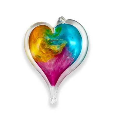 Hand Blown Glass Heart - 3 inch