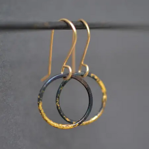 small steel and gold hoops