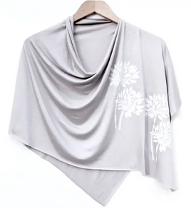 block printed botanical poncho, white ink - various designs/colors