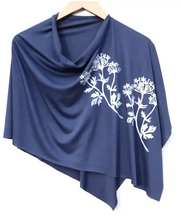 Load image into Gallery viewer, block printed botanical poncho, white ink - various designs/colors