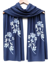 Load image into Gallery viewer, block printed botanical scarf, white ink - various designs/colors