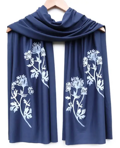 block printed botanical scarf, white ink - various designs/colors