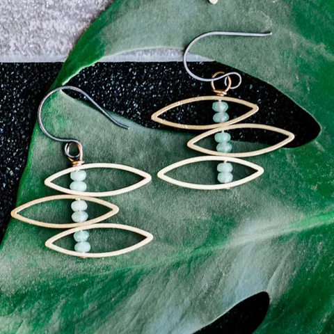 Simon & Ruby - Heliconia Earrings in Dark Mint