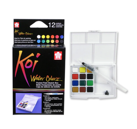 Koi® Water Colors™ Pocket Field Sketch Box, 12 Colors