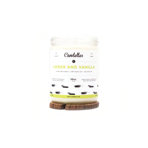 Candelles Candles - Amber and Vanilla Scented Soy Candle - 16oz.