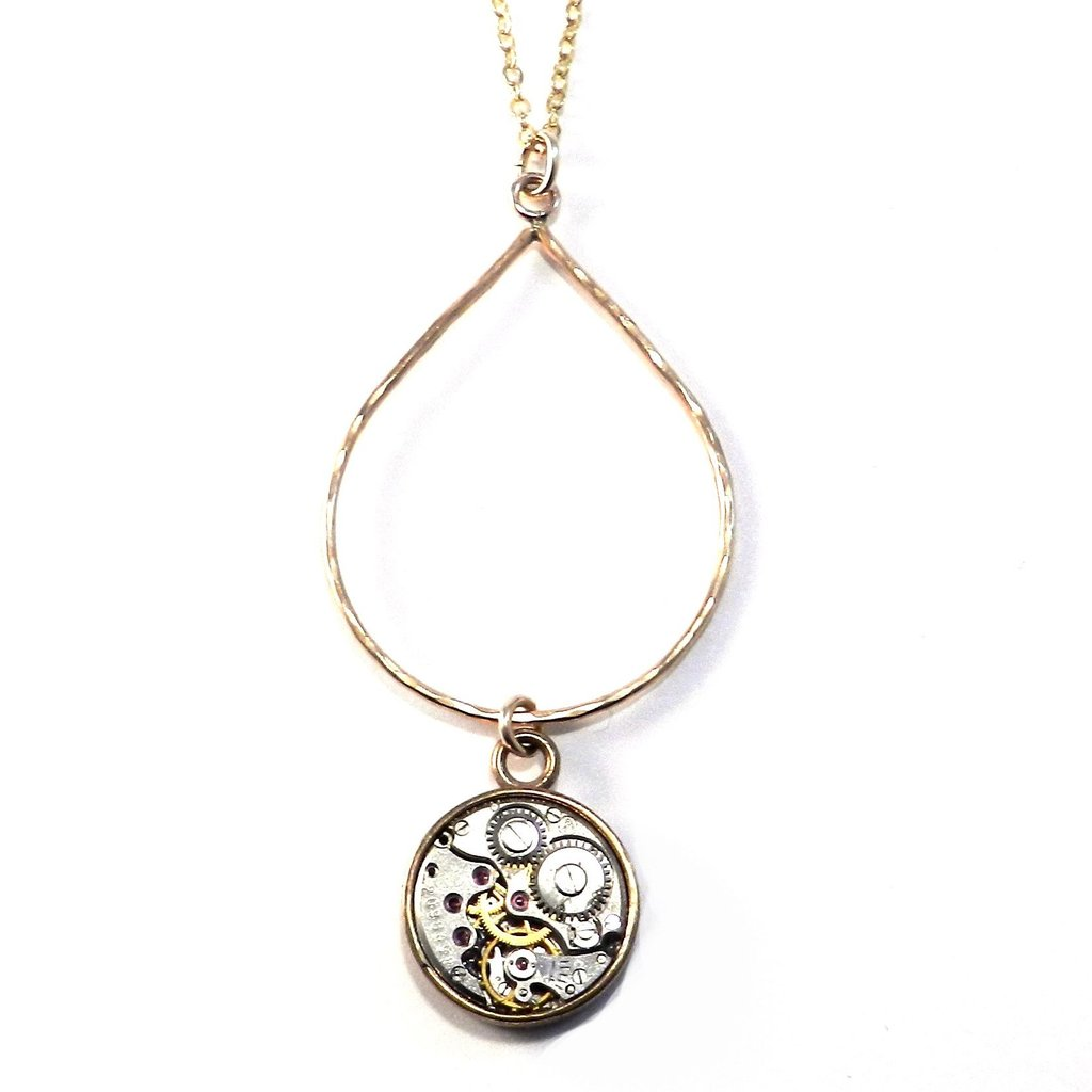 Compass Rose Design - CLOCKWORK Teardrop Necklace - BRONZE