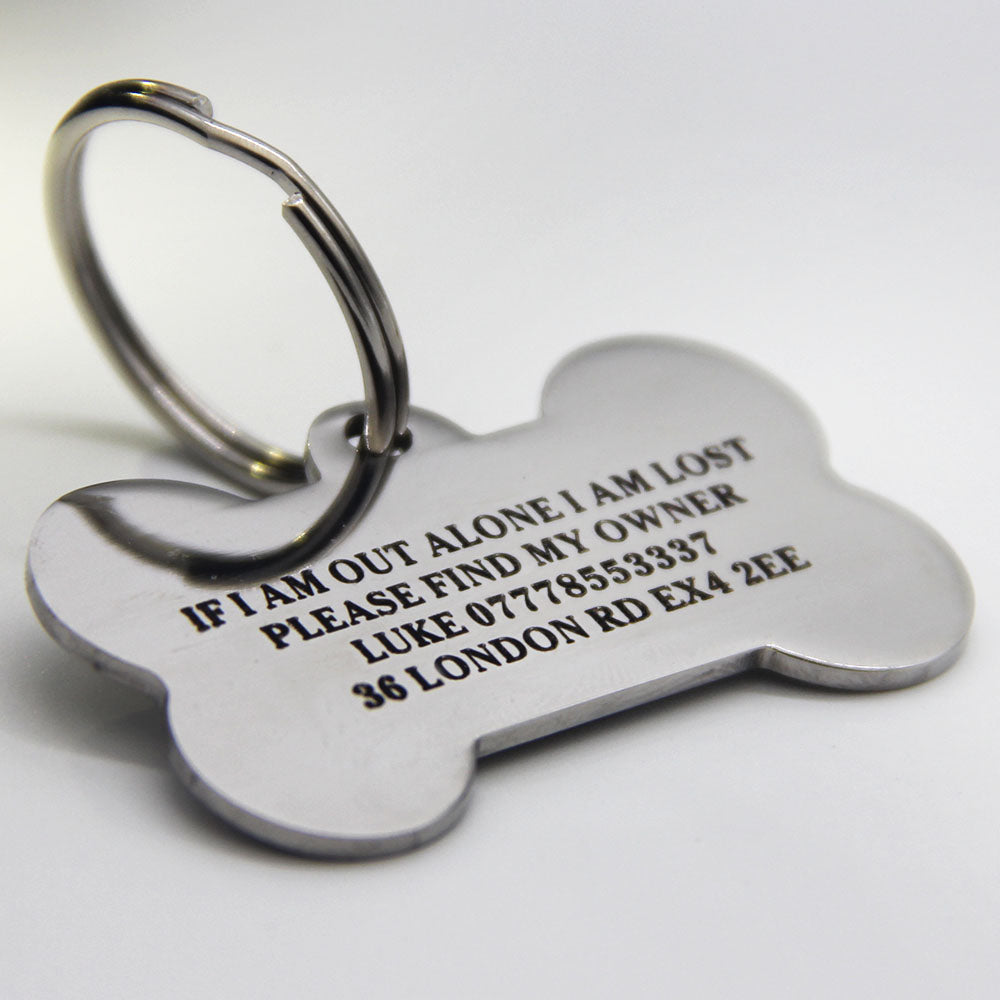 personalised stainless pet id tag cat dog tag front back engraving