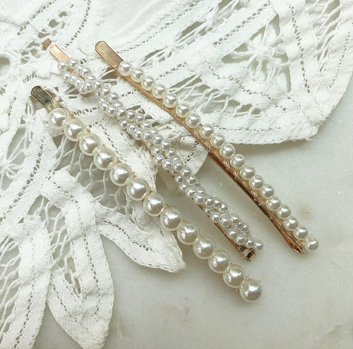 ashley three pearl hair pins