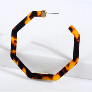 hexagon tortoise hoop earrings