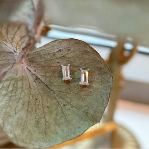 Sterling silver mini baguette earrings
