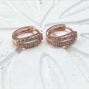 Double row open diamondette huggie earrings