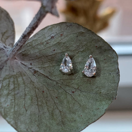 Sterling silver mini pear earrings